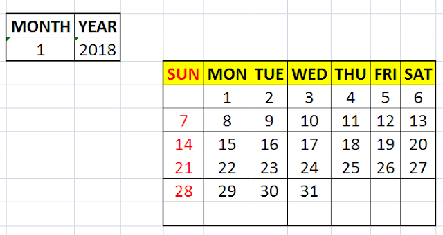 Lesson#27: How to make a calendar in excel without VBA | Excelabcd